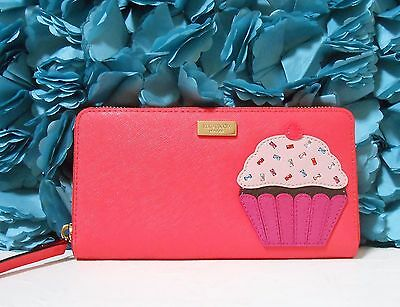 NWT Kate Spade Take The Cake Neda Wallet Clutch Leather Cupcake Applique New