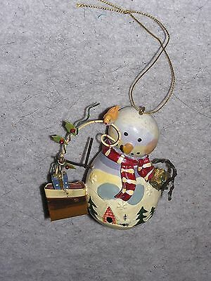 metalic snowman ornament with bird and presents 4 inches tall - great condition