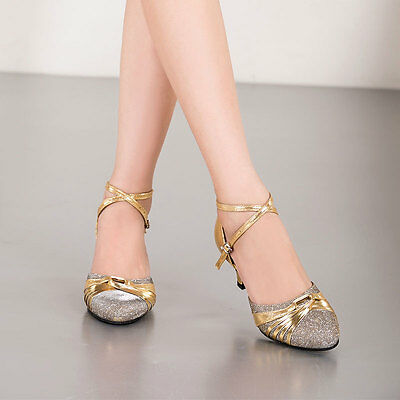 Women's Lady's Gold Soft Suede Sole Latin Tango Ballroom Salsa Dance Shoes