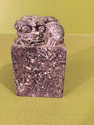 Vintage Chinese Carved Soapstone Foo Dog Chop Seal