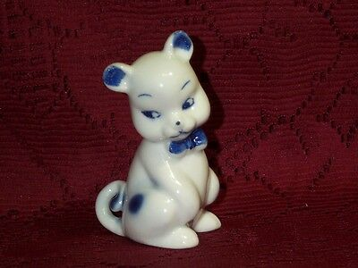 "Vintage White Blue Spots & Eyes Beagle Puppy Dog Ceramic Figurine 3 1/2"" Tall"
