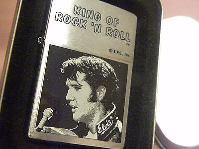 KING OF ROCK N ROLL ELVIS PRESLEY Zippo BRUSHED CHROME NOS! MIB!