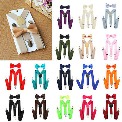18 Colors Baby Kids Suspender and Bow Tie Matching Set Tuxedo Wedding Suit Party
