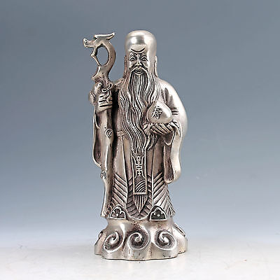 Chinese Collectable cupronickel  Hand Carved Longevity God Statues