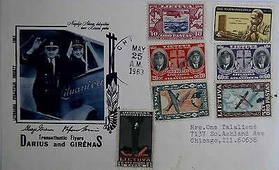 Lithuania 1963 Darius & Girenas Post stamp + Marked envelope Chicago