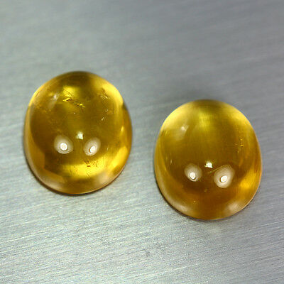 14.780 Ct Unique Dazzling Aaa Golden Yellow 100% Natural Heliodor Beryl Cab Pair