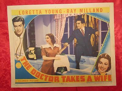 The Doctor Takes A Wife (1940) Loretta Young/ray Milland Original Lobby Card
