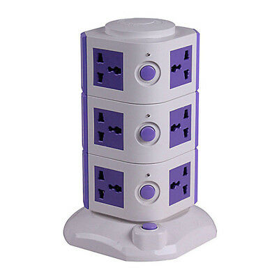 New 2017 Vertical Powerboard Surge Protection 10 Power With 2 USB Socket Board