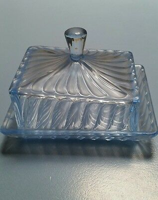 Blue Depression glass butter dish