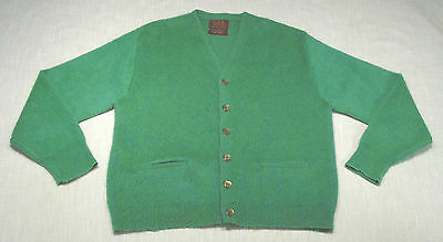 Vtg SEARS Fuzzy Mohair Cardigan Sweater (60s) Green KURT COBAIN! Near MINT! M