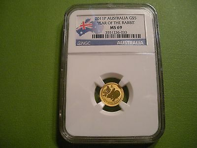 2011 P Australia Gold 5 Dollar - Year of the Rabbit - NGC MS-69 - (Uncirculated)