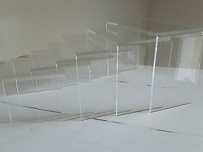 6 Piece Riser Display Stand Set Acrylic Perspex Clear 4mm EUC FREE POSTAGE