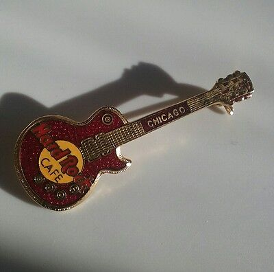 Hard Rock Cafe Pin Chicago Red Guitar Les Paul Brooch Collectors