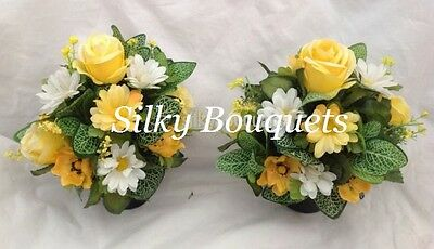 Artificial Silk Grave Pot Flowers Small All Round Pair Yellow Daisy Short