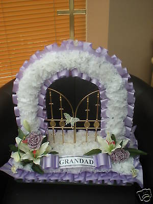 Artificial Silk Flowers Gates of Heaven Wreath Memorial Tribute Grave Funeral