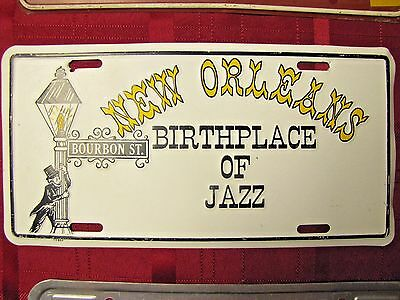 Louisiana New Orleans BIRTHPLACE OF JAZZ Bourbon St. Metal License Plate