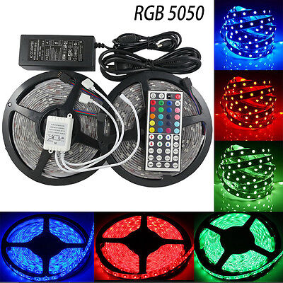 1-10M SMD 5050 RGB LED Strip Light Flexible Lighting 12V IR Controller Adapter