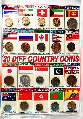 20 Different Countries World Class Original Vintage Coins Display Collection lot