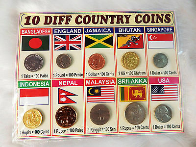 10 Different Countries World Class Original Vintage Coins Display Collection lot