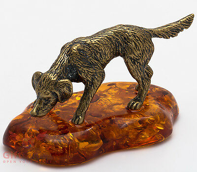 Solid Brass Amber Figurine of English Setter Dog hunting IronWork