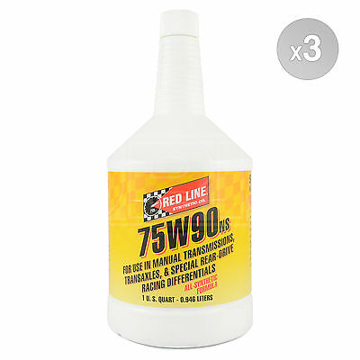 Red Line 75W-90NS (non limited slip) GL-5 Gear Oil 3 x 1 US Quart 2.838 Litre