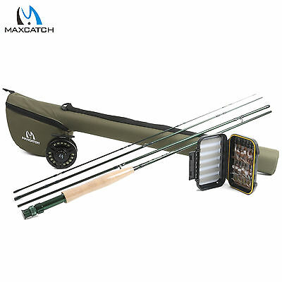 Fly Fishing Outfit 9' #6 Weight 4 Pieces Fly Rod Reel Combo with Fly Line Flies