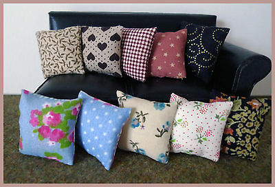 10 odd cushions for 1/12fth scale dolls house. Mixed