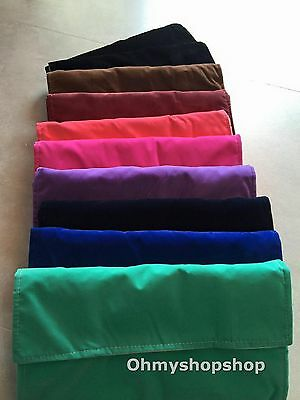 Many Colour Velvet Travel Display Jewellery Necklace Package Storage Roll Bag UK