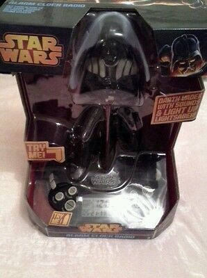 Star Wars Darth Vader Alarm Clock Radio New in Box Makes Vader Sounds plus