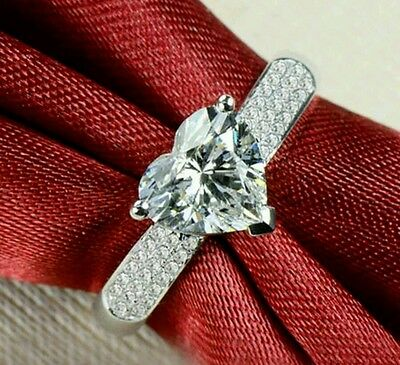 Platinum Plated Silver 2.0CT Diamond Fiancee Ring Engagement Xmas Love Promise