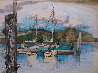 COLOURED GRAPHITE DRAWING by FREDERICK GEORGE WILLS 1901-1993 R.I. LYMINGTON