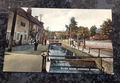 Quality Old Postcard Of The River Somer In Midsomer Norton
