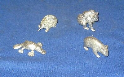 Set of  4 Silver Australian National Animal Ornaments