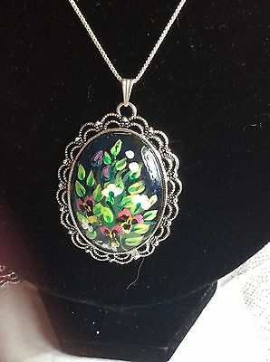 Hand Painted Pendant With Pansies. Wearable Art. Unique Gift
