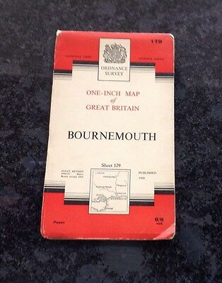 One Inch Ordnance Survey Map Of Bournemouth Published In 1960