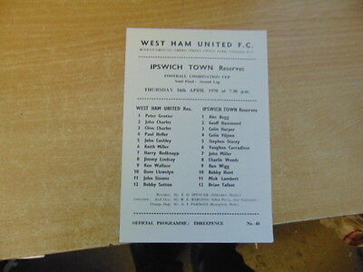 Reserves 69/70 West Ham United v Ipswich Town Comb Cup SF Apt 16