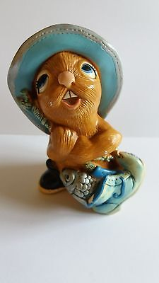 Vintage Pendelfin Bunny Rabbit Figurine WHOPPER Hand Painted Stonecraft