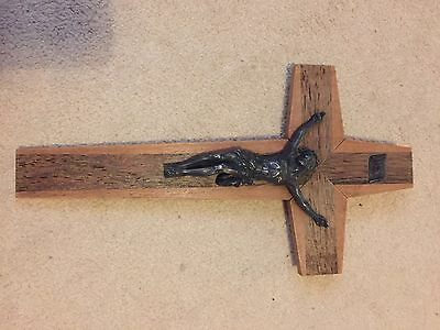 Vintage French-Made Wooden Crucifix