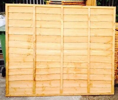 Wooden Fence Panel Heavy Duty Lap Panel 6ft x 6ft Fully framed 5 Bars BARGAIN.