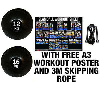 Fxr Sports 12 & 16Kg Set No Bounce Slam Ball Crossfit Fitness Strength Training