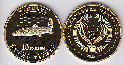 UDMURTIA UDMURT 10 Rubles 2013, Fish, unusual coinage