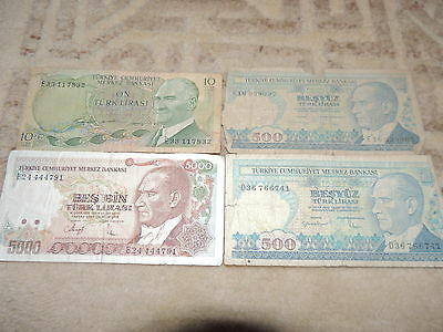 Collection Of 4 Turkey Bank Notes
