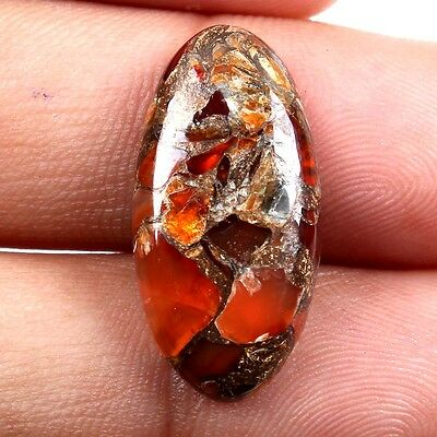 Lovely CARNELIAN COPPER MOHAVE Oval Cabochon 24x12 mm Gemstone 11 Cts s-26359