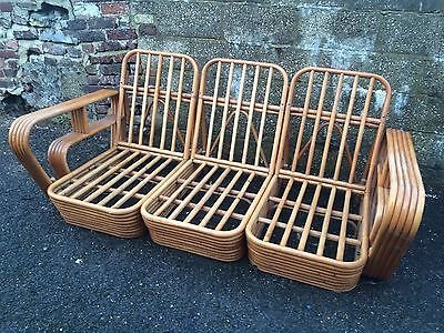 Stylish Vintage Bamboo Suite. Sofa And Armchair