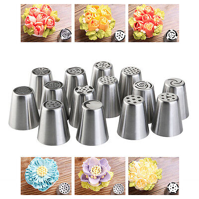 14 Russian Icing Piping Nozzles Tips & 3-Color Coupler & Bag Set Cake Sugarcraft
