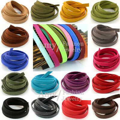 Leather Cord Soft Suede Thong Lace Flat Rope Thread String Craft  5mm 8mm 10mm
