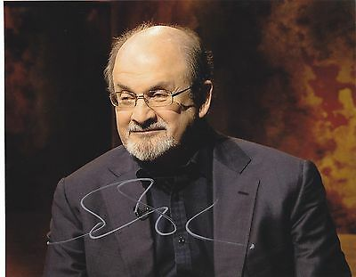 Sir Salman Rushdie Signed Autograph 8X10 Photo Autographed Satanic Verses Proof
