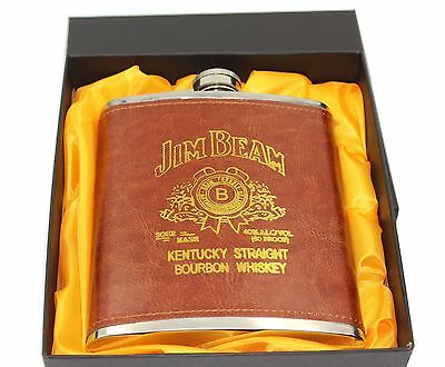 Luxury 18oz Stainless Steel Russian Whiskey Hip Flask Leather Personalized Fl...