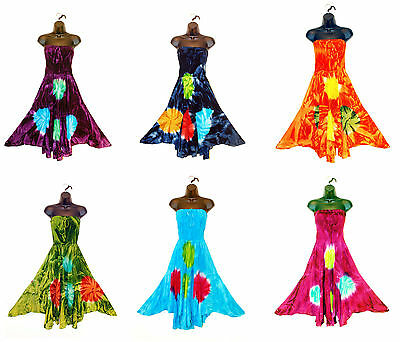 12 Wholesale Lot Bulk Tie Dye Floral Long Summer Tube Sundress Maxi Dress Skirt