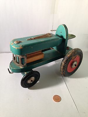 Vintage USSR Signed Wood Childs Tractor Toy